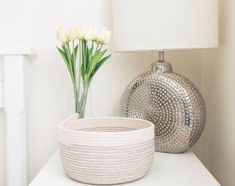 Rope basket, grey & white, storage basket, rope bowl, cotton basket, storage, nursery storage, gift idea, housewarming, organiser, key bowl