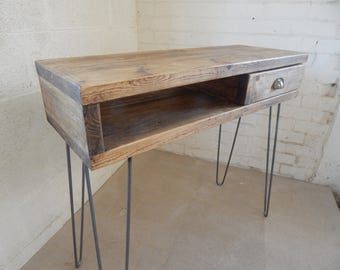 Standing Desk / Console Table / with drawer /  Industrial / Retro/ Rustic Made to Measure, Reclaimed Wood , Hairpin Legs