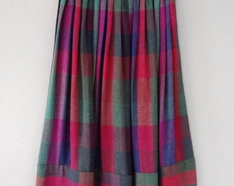Vintage plaid elastic waist pleated tea length straight skirt