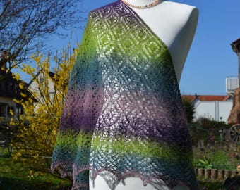 Summerly, shawl, stole, shawl, handknit