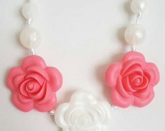 Back in stock!! Coral and Pearl Silicone Flower Trendy Teether Necklace. Teething, Sensory Toy, Teether, Baby shower gift.