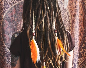 Indian style, boho, hippie, synthetic dreads, hair ornaments, decorations for the head