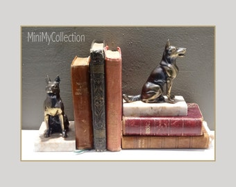 French vintage Cast spelter Alsatian book ends - German shepherd book ends