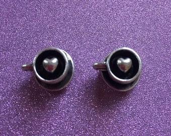 2 Tibetan Style Antique Silvertone Coffee Cup charms