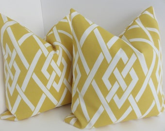 Outdoor/Indoor Yellow Pillow Covers- White Yellow Outdoor Pillows- Outdoor Pillow Covers- Yellow Outdoor Pillows- Yellow White Pillows