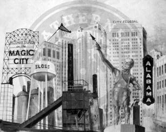 "11""x14"" Canvas Print of Birmingham, Alabama Landmarks | Vulcan | Sloss Furnace | Alabama Theater | Electra"