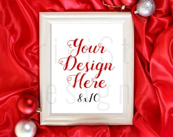 White Christmas Frame, Empty Frame Mockup, 8x10, Holiday Styled Stock Photography, Winter Stock Photo, Christmas Styled Stock image, 289