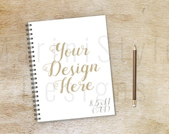 Notebook Mockup, 8.5 x 11, Wood Background, Diary Mockup, Spiral Notebook, Vintage Styled Stock Photography, Stock Photo, Stock image, 335
