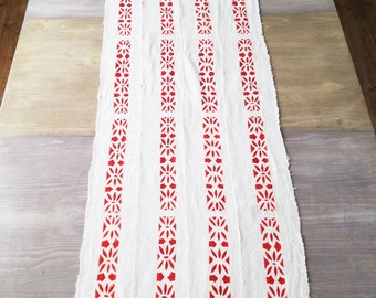 Table Runner - White with Red Mudcloth - Christmas Table Runner - Holiday Table Runner - Bohemian