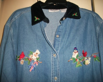 Women's Vintage Ugly/Cute Christmas Denim Shirt with Embroidery Size L