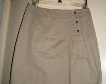 Vintage Tan Cotton Wrap Skirt Size 12