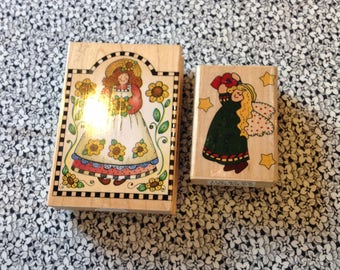 Vintage Rubber Stamps with Country Girl Angle, Scrapbooking, Card Making