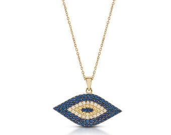 14k Solid Yellow Gold Evil Eye Necklace