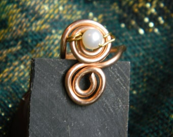 Boho Spiral Wire Ring with Freshwater Pearl, Handmade