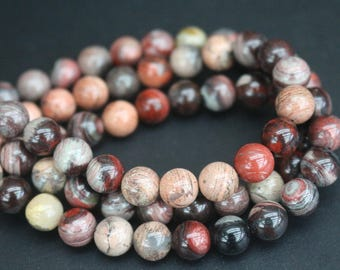 8mm Red Silver Leaf Beads,Smooth and Round Stone Beads,15 inches one starand