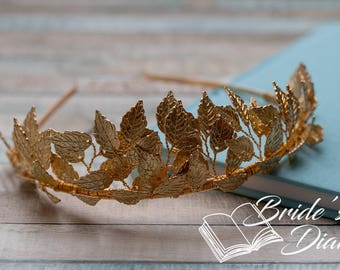 Wedding hair jewelry, bridal hair crown, golden leaves, golden bridal crown
