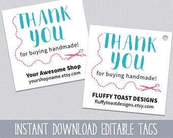 Thank You For Buying Handmade Tags Print & Cut Text Editable Thank You For Purchase Tag - Instant Download DIY Edit, Print and Cut Template