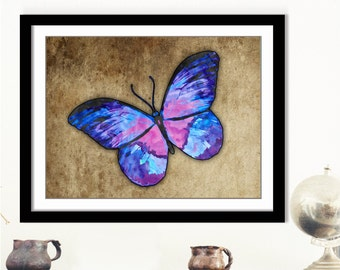 Purple Butterfly Art - Violet Butterfly, Butterfly Art Print, Pastel Artwork, Insect Wall Art, Purple Butterfly Decor, 10x8 Butterfly