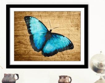 Blue Butterfly Art Print - Printable Butterfly, Blue Butterfly Poster, Digital Butterfly, 3D Butterfly Art, Mariposa Arte, Aqua Butterfly