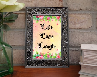 Live love laugh art - inspirational quotes, love art quotes, quotes about love, floral letters, floral quotes, flower quotes, digital art
