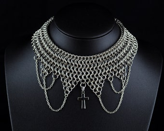 Euro 4-in-1 Chainmail Cross and Chain Necklace