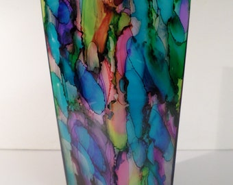 Bold and bright ORIGINAL CONTEMPORARY  hand-painted VASE!
