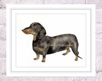 Dachshund Print, Watercolor Dog Print, Dachshund Illustration, Puppy Wall Art, Watercolour Dachshund, Dog Portrait
