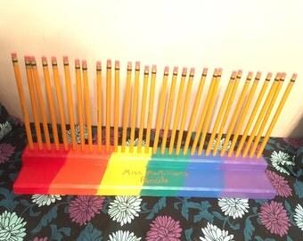 Rainbow pencil/sharpie holder