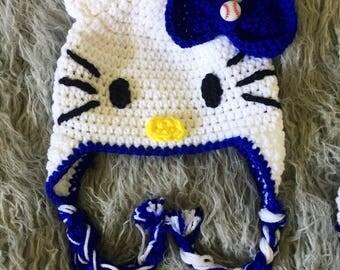 Sale! Baseball team hello kitty beanie, Los Angeles Dodgers hat, crochet hello kitty beanie, crochet baseball beanie, hello kitty hat