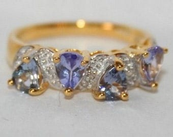 Beautiful ring in Sterling Silver 925/1000 with diamonds + tanzanites