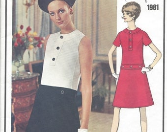 1960s Vintage VOGUE Sewing Pattern B34 DRESS (1032) By Nina Ricci  'Vogue 1981'