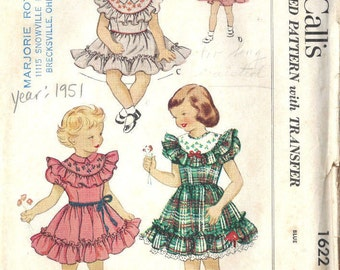 1951 Childrens Vintage Sewing Pattern S2 B21 DRESS with TRANSFER (C14)