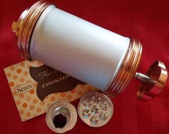Vintage Sears Aluminum Cookie Press Spritz Cooky Pastry Press with 10 Discs and 1 Tip
