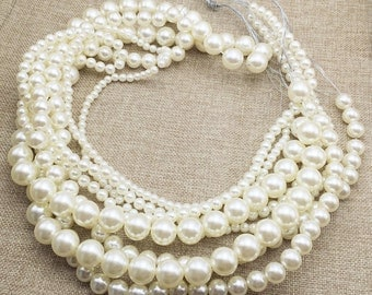 Round Plastic Pearl Beads White / Ivory Through Hole Faux Pearls Handmade Jewelry Finding 6mm 8mm 10mm 12mm 14mm 16mm Full Strand 35 inches