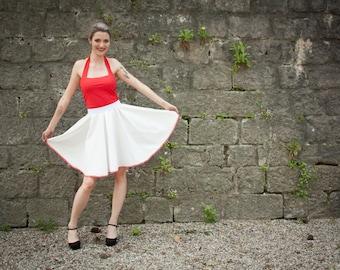 circle white polyester with marine bias skirt