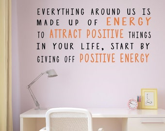 Everything around us is made up of energy, Attact positive energy, Law of attraction wall art, Positive attitude quote