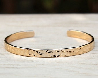 Bracelet gold plated hammered ring 750/1000 3 microns