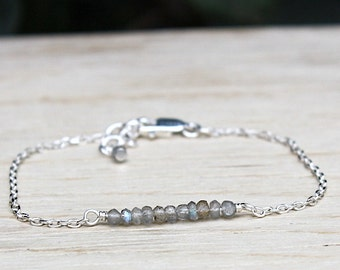 solid silver chain bracelet 925 and gems labradorite stones