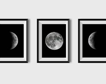Set of 5 Moon print Moon phases art printable Black and white Minimalist Minimalism Luna print Bedroom decor Wall art Moon Phase Modern art