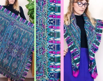 Vintage Oversized Scarf, Retro Shawl, Paisley Scarf, Thick Scarf, Huge Scarf, Large Scarf, Patterned Shawl, Vintage Sarong, Wrap, Beach,