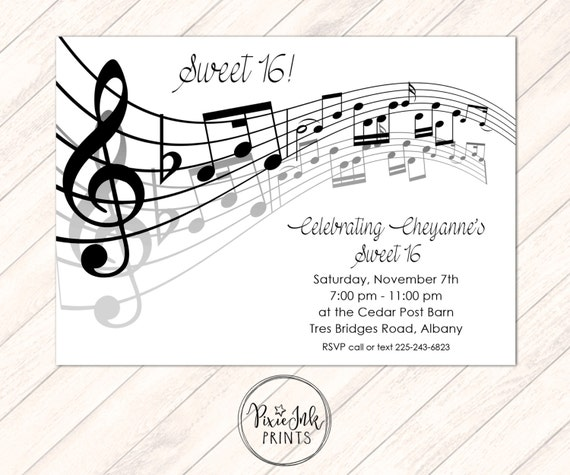 music notes invitation musical party sheet music invitation. Black Bedroom Furniture Sets. Home Design Ideas
