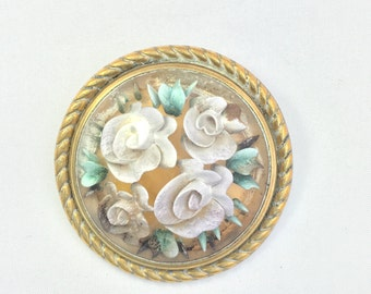 Vintage Reverse Carved Framed Lucite Brooch
