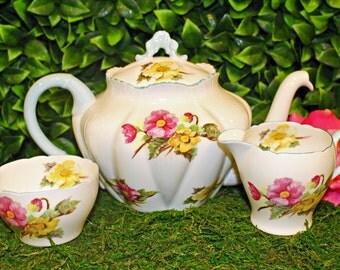 Shelley Begonia Teapot, Sugar, and Creamer