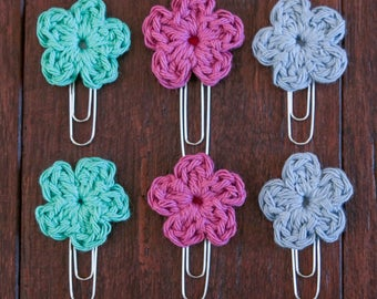 Crochet Spring Flower Bookmarks of 6 (paper clips, book marks)