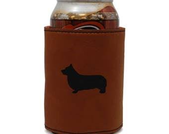 Pembroke Welsh Corgi Leather Can Sleeve, Beer Sleeve, Beer Cooler, Beer Hugger