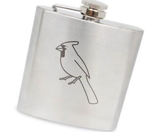 Cardinal 6 Oz Flask, Stainless Steel Body, Handmade In Usa