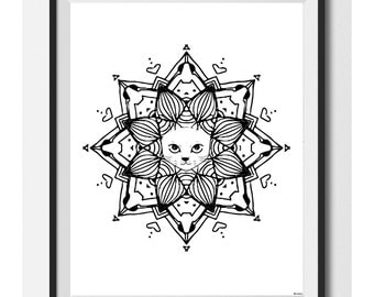 Cat mandala Print , printable wall art , digital download , cat drawing , cat lover , cat illustration ,dog wall art ,Mandala ,nursery decor