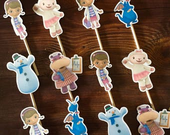 DOC MCSTUFFINS Cupcake Toppers / Cake Toppers / Die Cuts / Birthday Party / Decorations / Cake Pops / Supplies / Decor / Fast Shipping