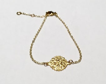 gold bracelet, 16K gold plated, lace, extender chain, present, gift, birthday, special occasion