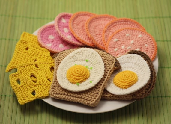 BREAKFAST Crochet Knitting Patterns Set PDF - Crochet fried egg, Crochet boiled sausage, Knitted bread, Knitted cheese, Amigurumi Play Food